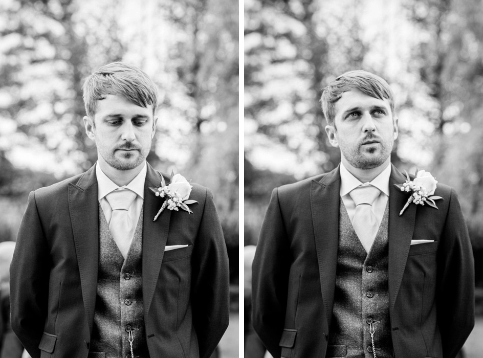 nervous groom waiting for bride at Wootton Park