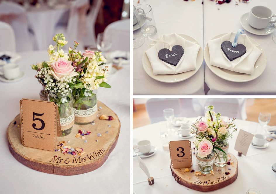 rustic vintage table settings at Wootton Park  wedding