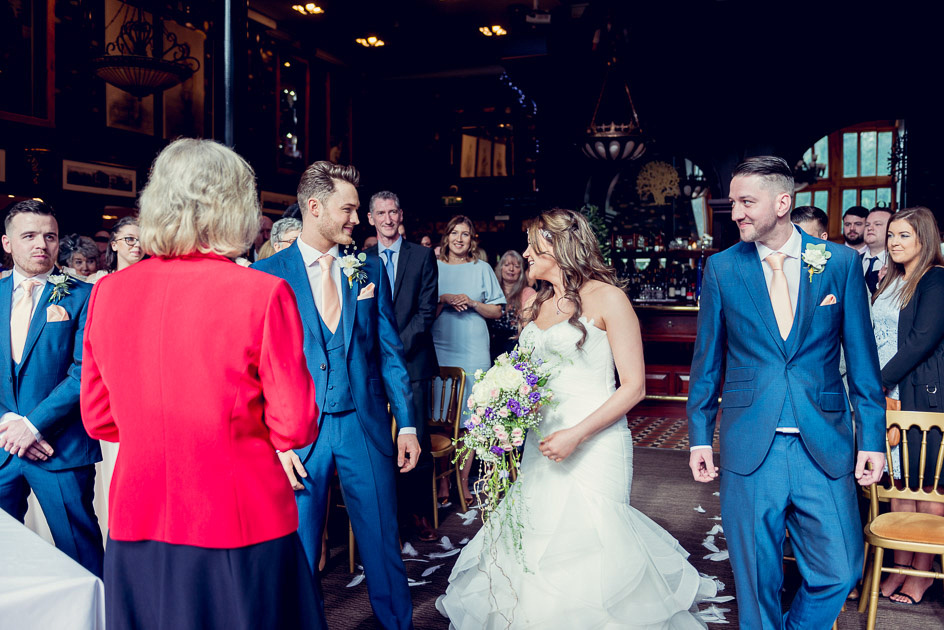 bride and groom see each other for the first time at Old Thorns