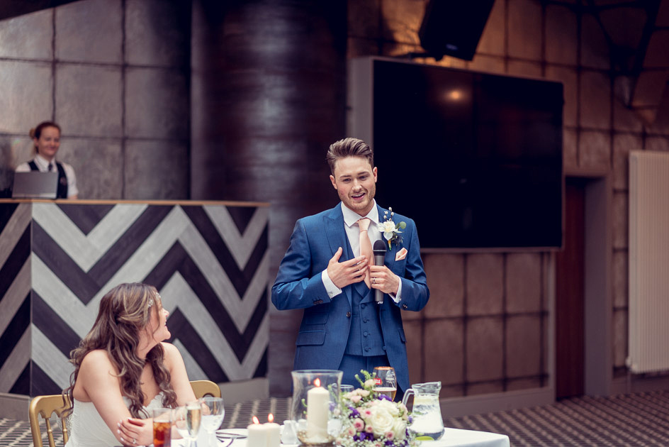 groom giving speech at Old Thorns