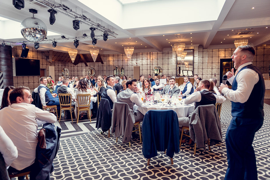 best man gives speech at Old Thorns wedding