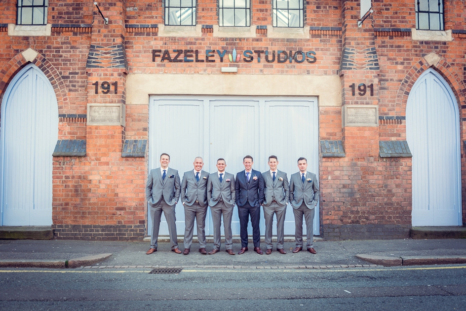 groomsmen outside Fazeley Studios in Birmingham