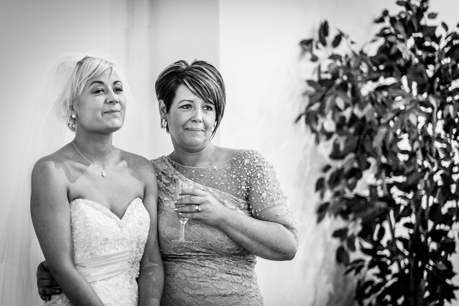 emotional bride during speeches at Fazeley Studios in Birmingham