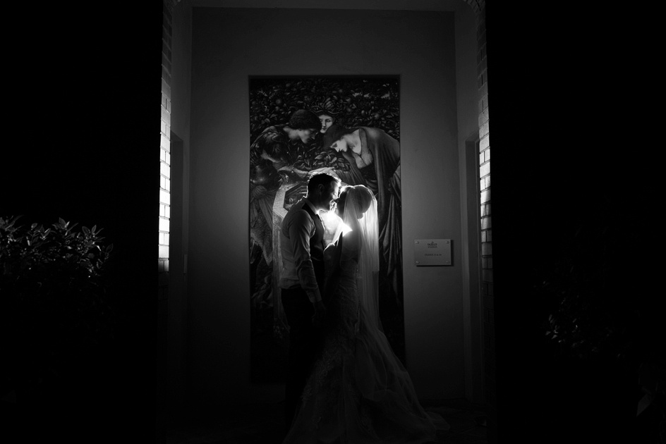 bride and groom night time portrait at Fazeley Studios in Birmingham