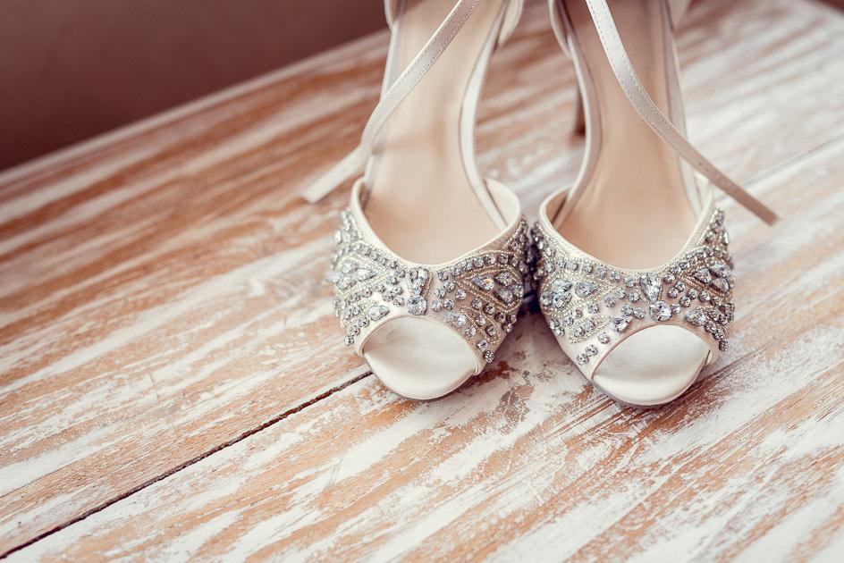 bride's diamante shoes