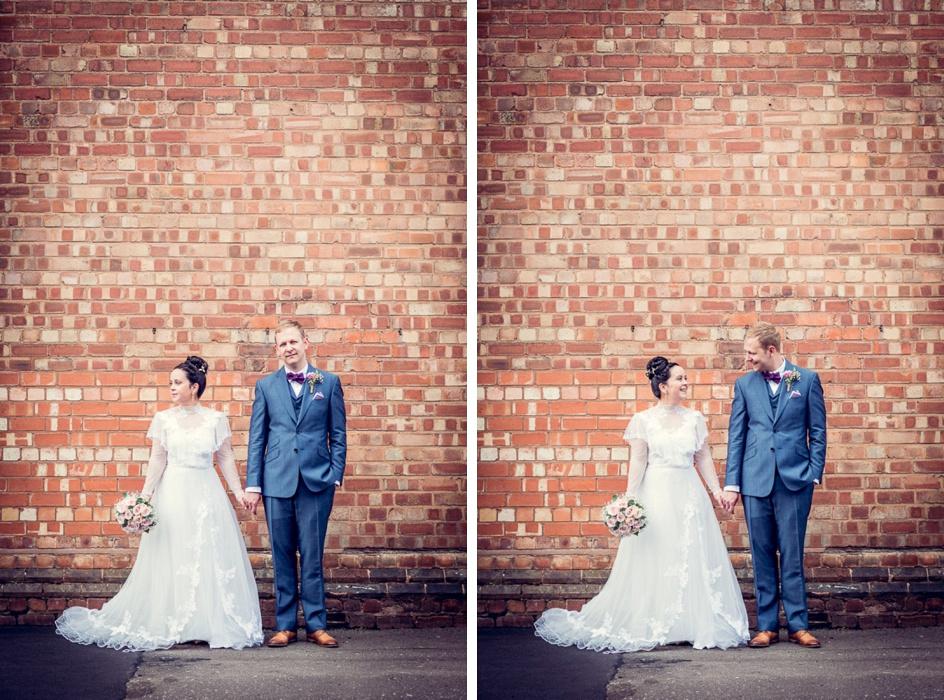 urban wedding portrait with brick wall in Digbeth