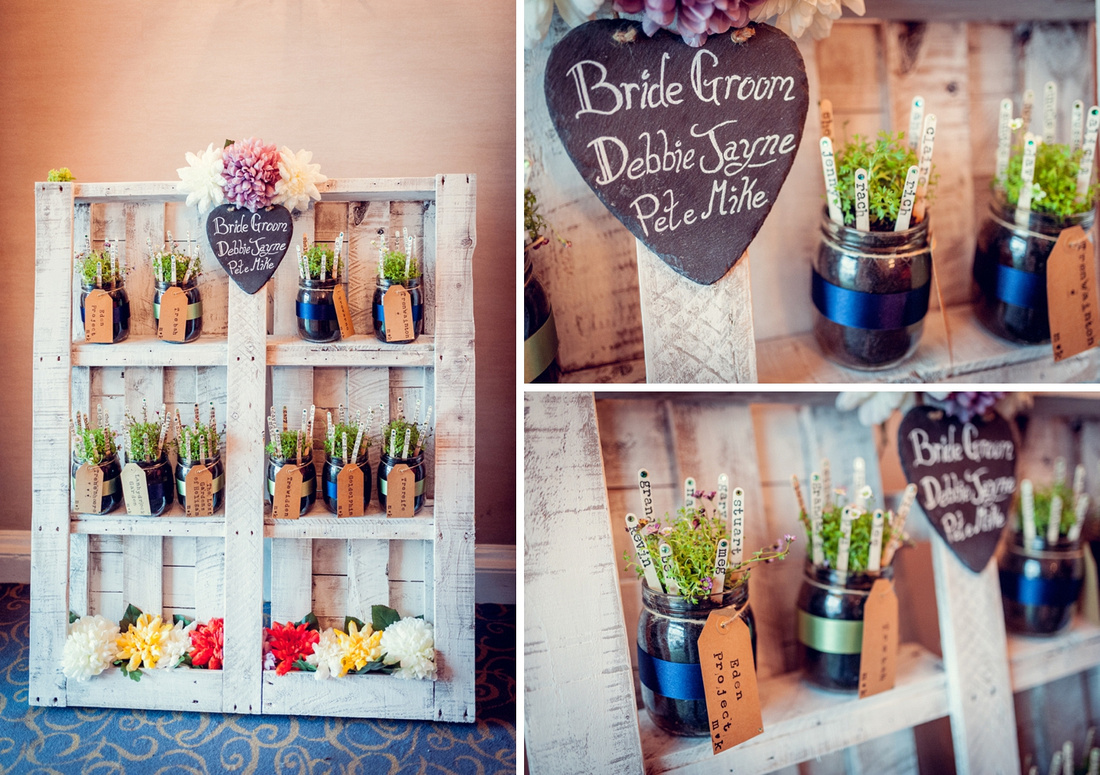 garden themed table plan made from pallet