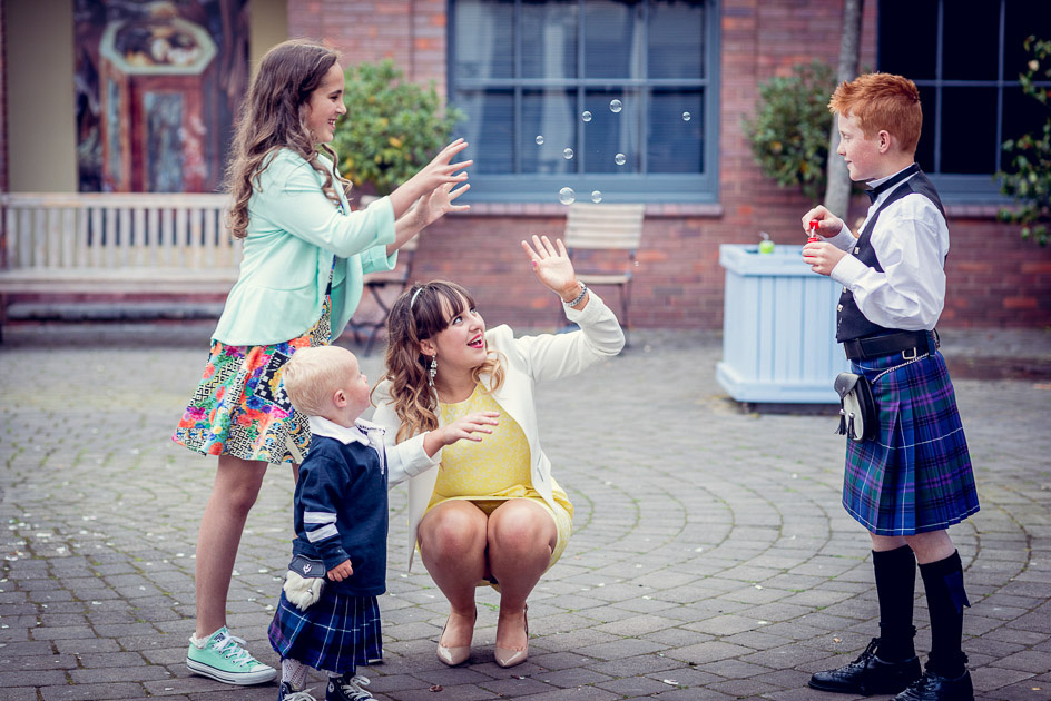 blowing bubbles at Fazeley Studios wedding