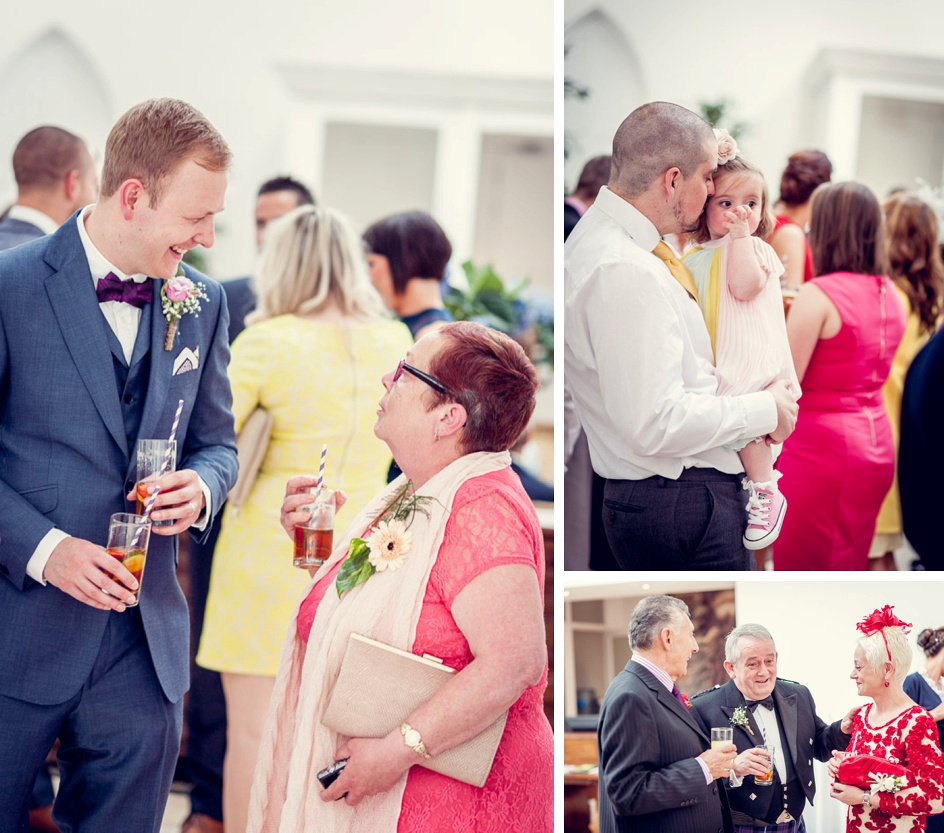 wedding guests during drinks reception