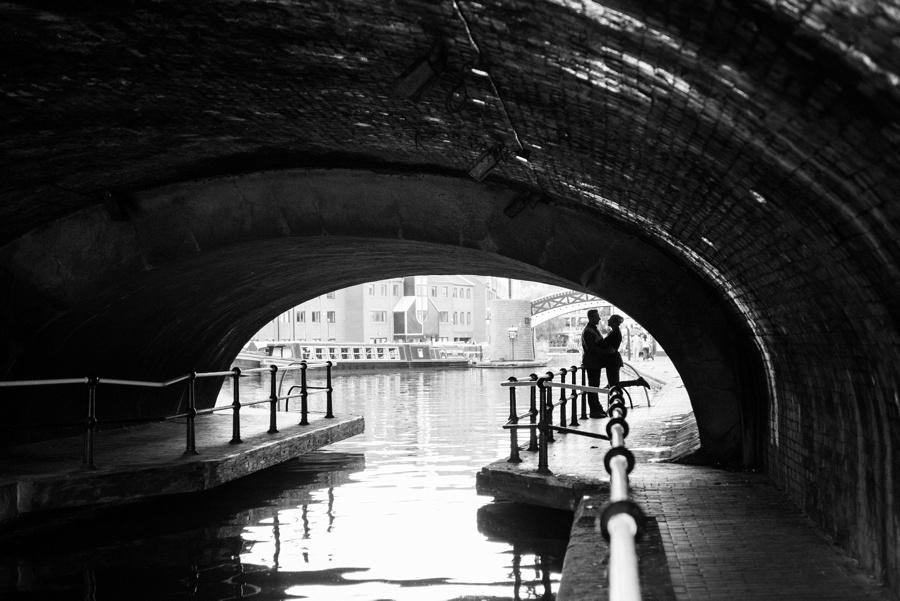 Birmingham, canal, bridge, silhouette
