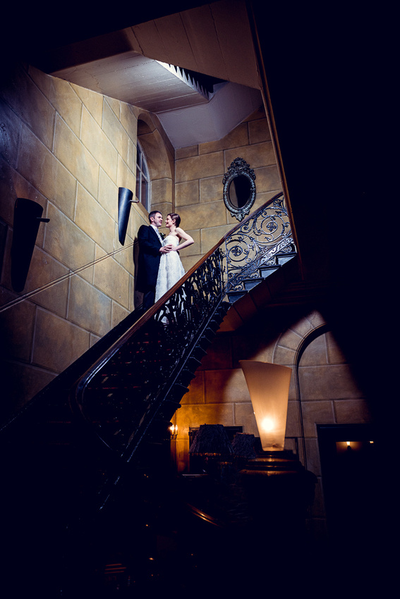bride and groom portrait on staircase at Hotel du Vin in Birmingham