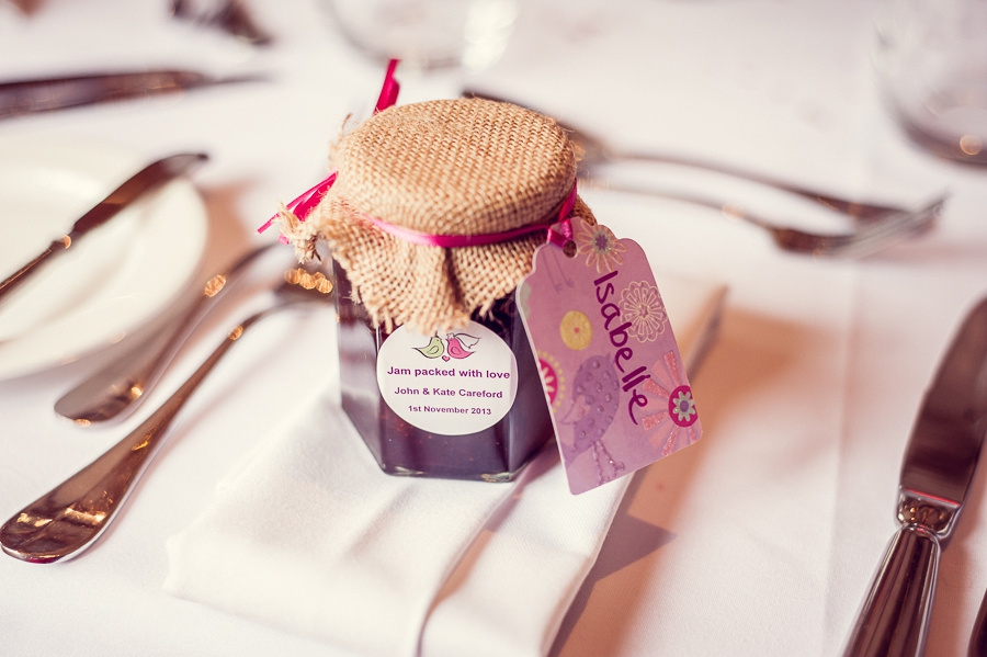 Wedding Photography at Curradine Barns in Worcestershire home-made jam favours