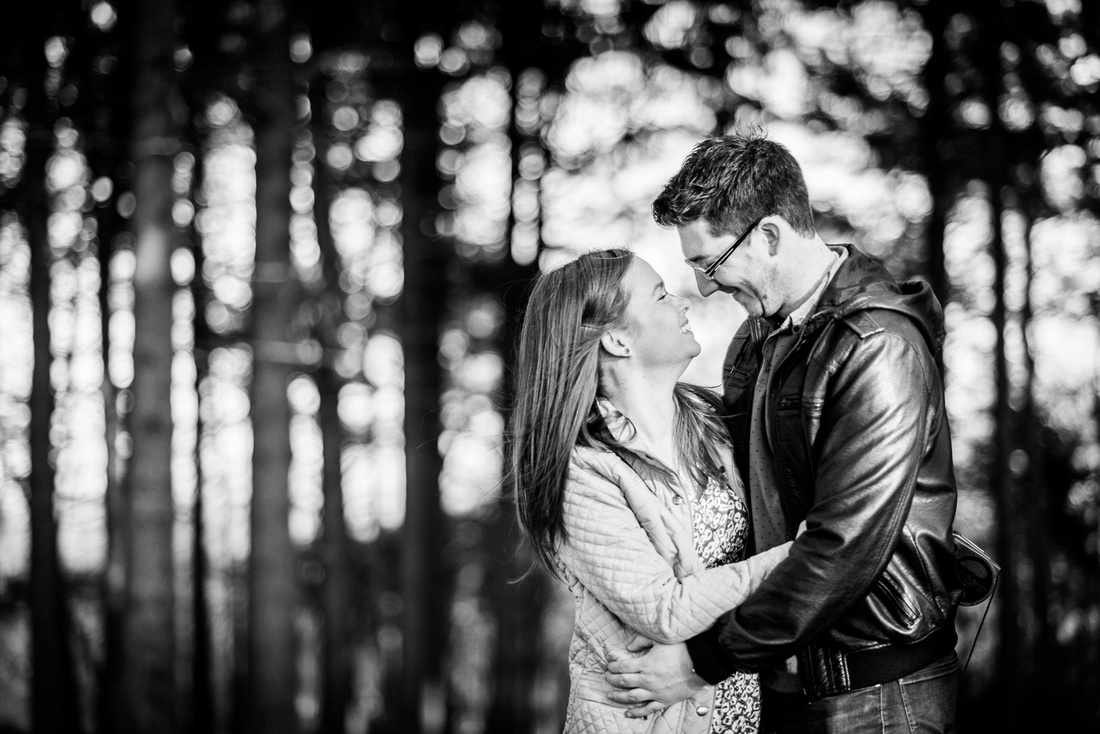 romantic pre-wedding portrait in the Lickey Hills