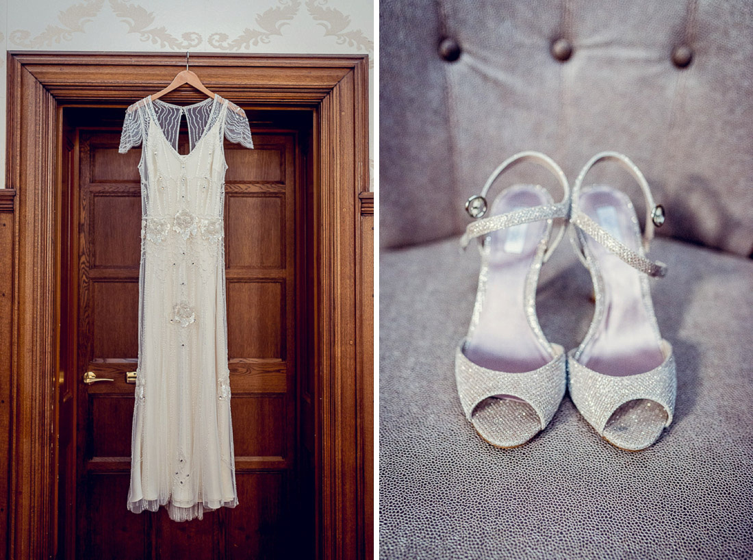 Jenny Packham wedding dress and sparkly shoes
