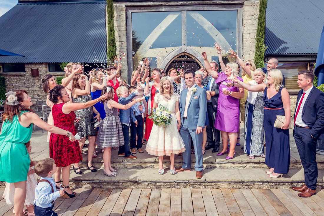 confetti at Cripps Barn wedding