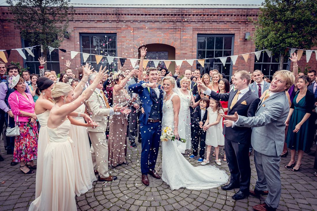 Wedding Photography at Fazeley Studios in Birmingham fun confetti