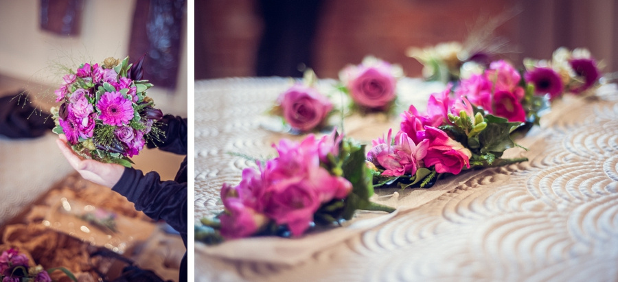Wedding Photography at Curradine Barns in Worcestershire pink flowers gerberas roses freesias bouquet buttonholes