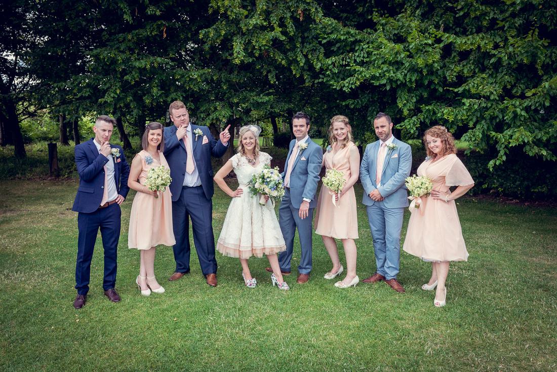 fun group shot at Cripps Barn wedding