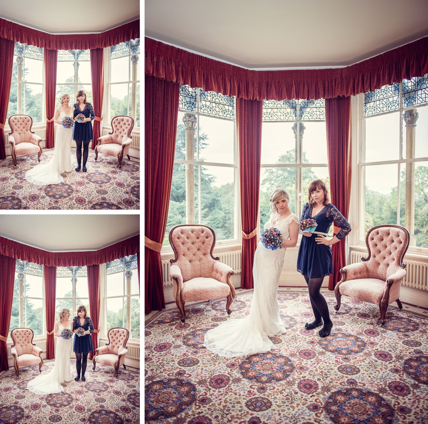 Wedding photography at Highbury Hall in Birmingham bride and bridesmaid having fun