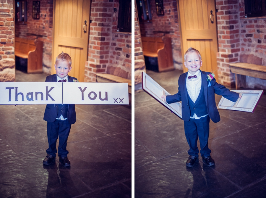 Wedding Photography at Curradine Barns in Worcestershire  cute pageboy thankyou sign