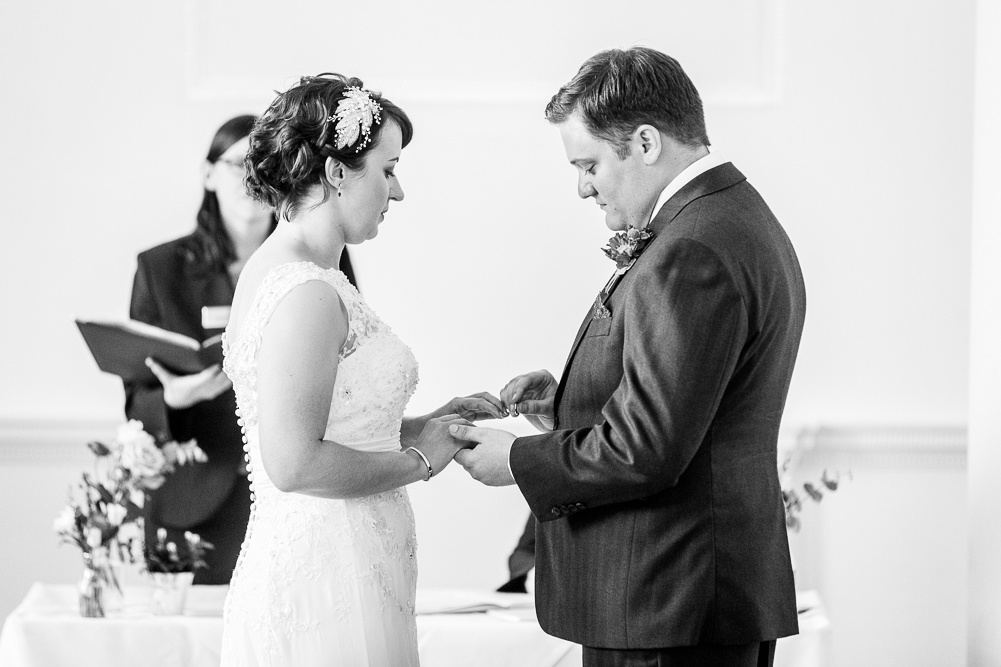 exchange of rings at Compton Verney wedding