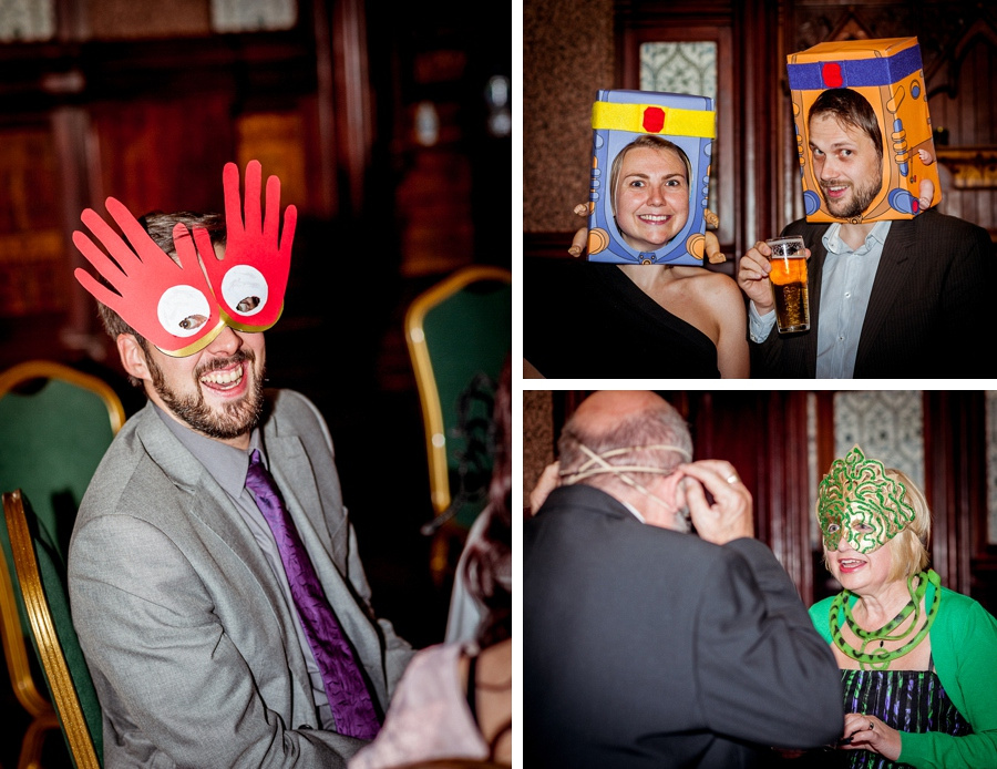 Wedding photography at Highbury Hall in Birmingham guests wearing homemade masks