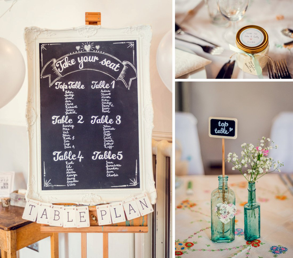 Hatton Village Hall wedding details vintage table plan candle favour