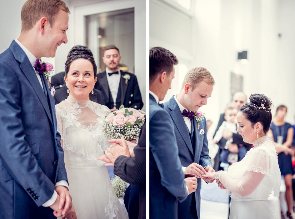 ring exchange at Fazeley studios wedding