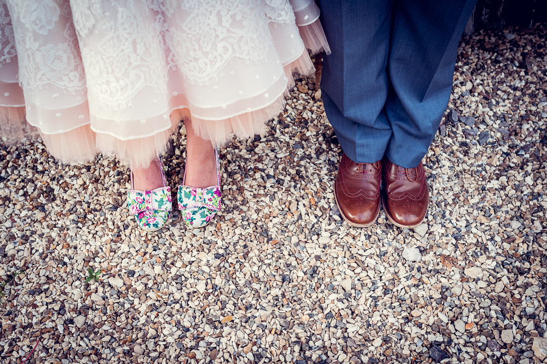feet shot of bride's Irregular Choice Mutiny shoes