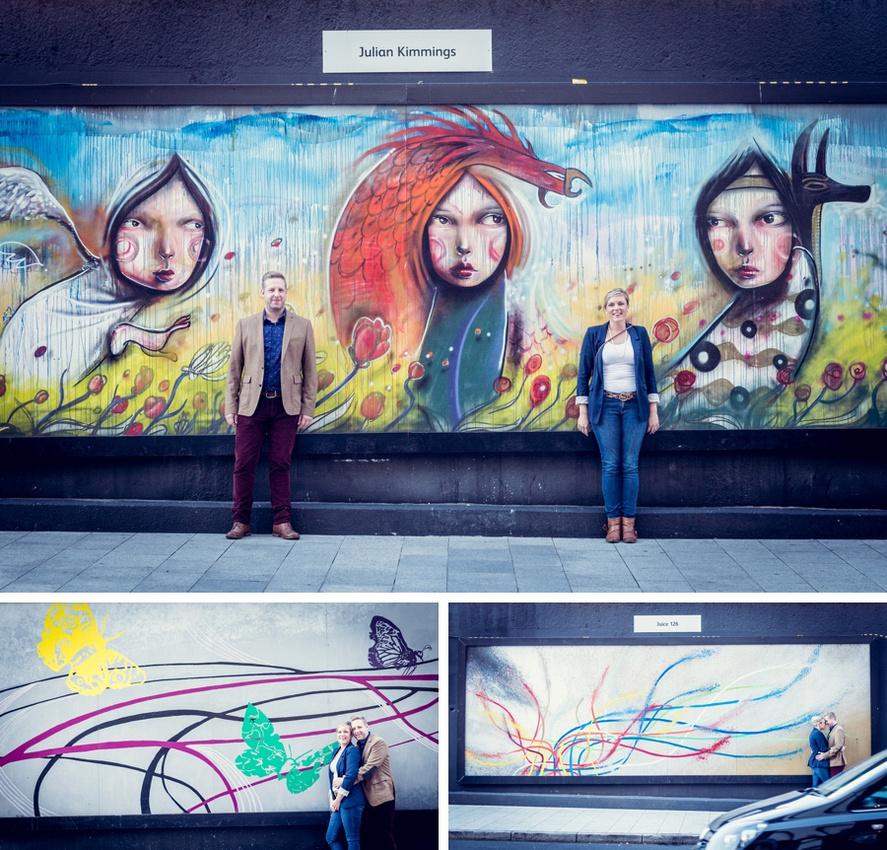 street art, couple, pre-wedding, Birmingham city centre