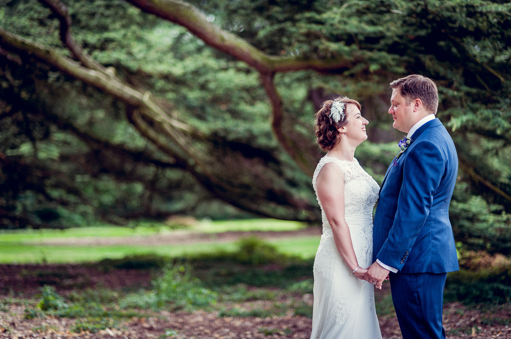 bride and groom in front of tree at Compton Verney