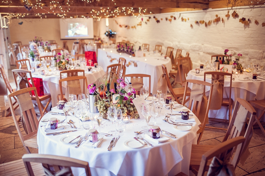 Wedding Photography at Curradine Barns in Worcestershire  room set up for meal