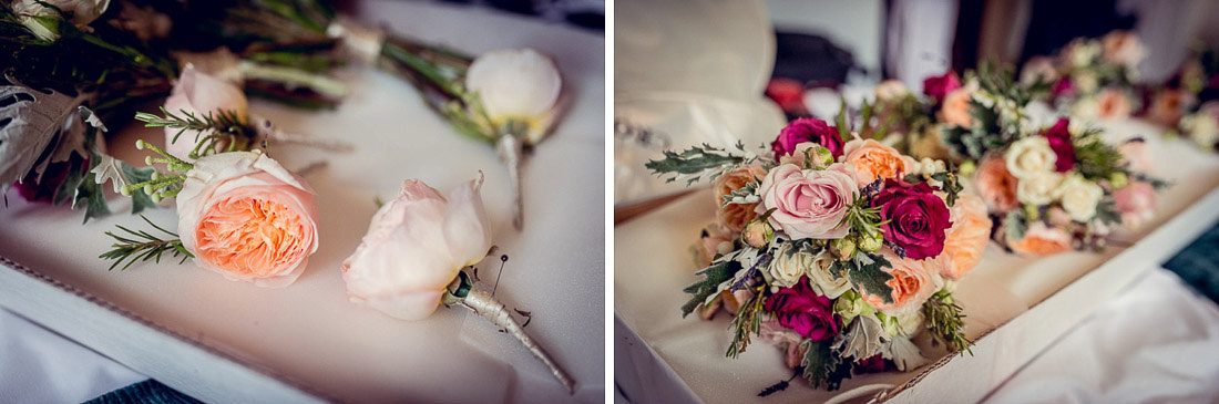 peach rose bouquets and buttonholes