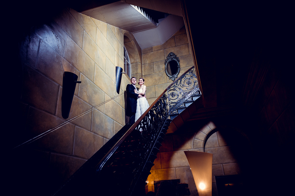 bride and groom on staircase at Hotel du Vin in Birmingham