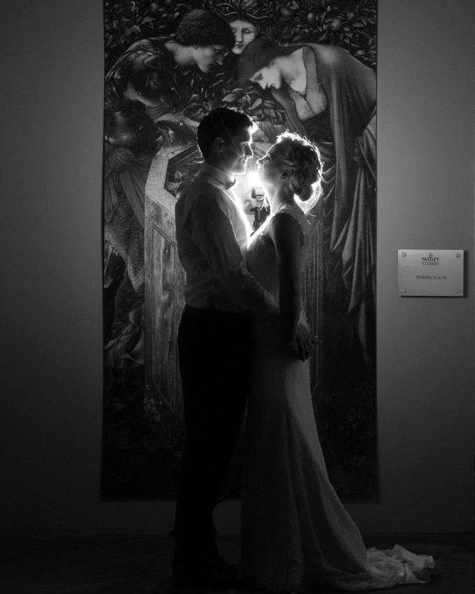 Wedding Photography at Fazeley Studios in Birmingham creative night portrait