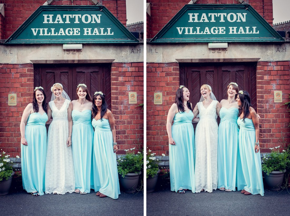 bride and bridesmaids outside Hatton Village hall