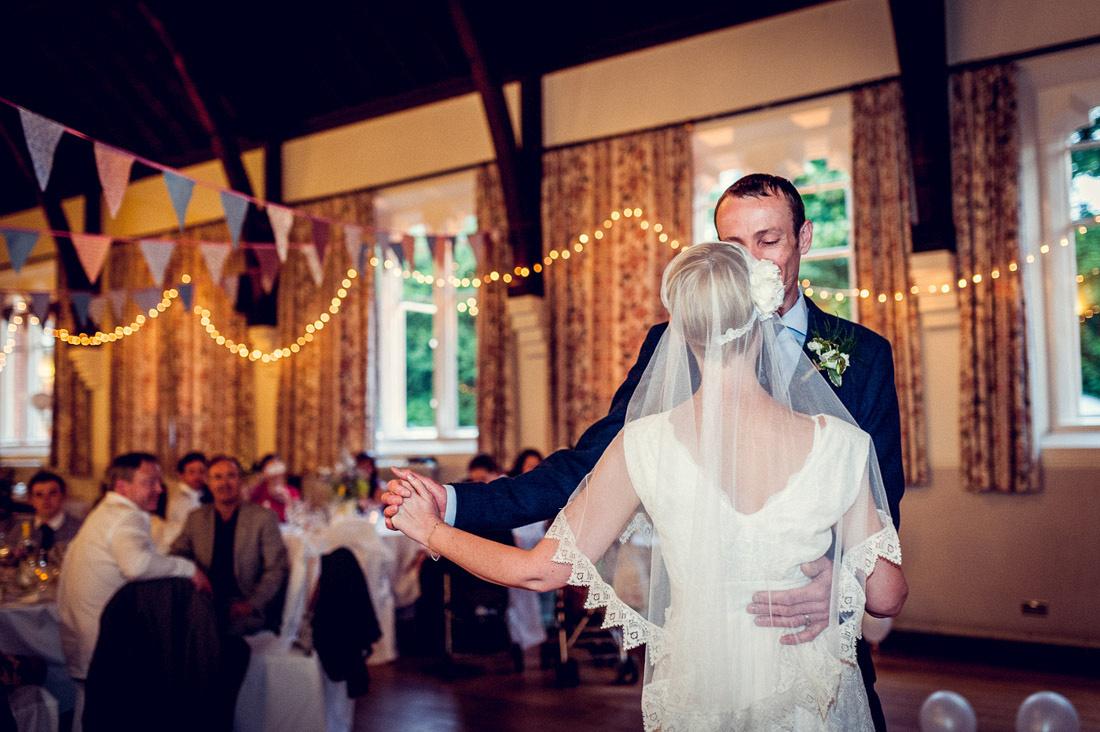 first dance at Hatton Village Hall with bride in Minna dress