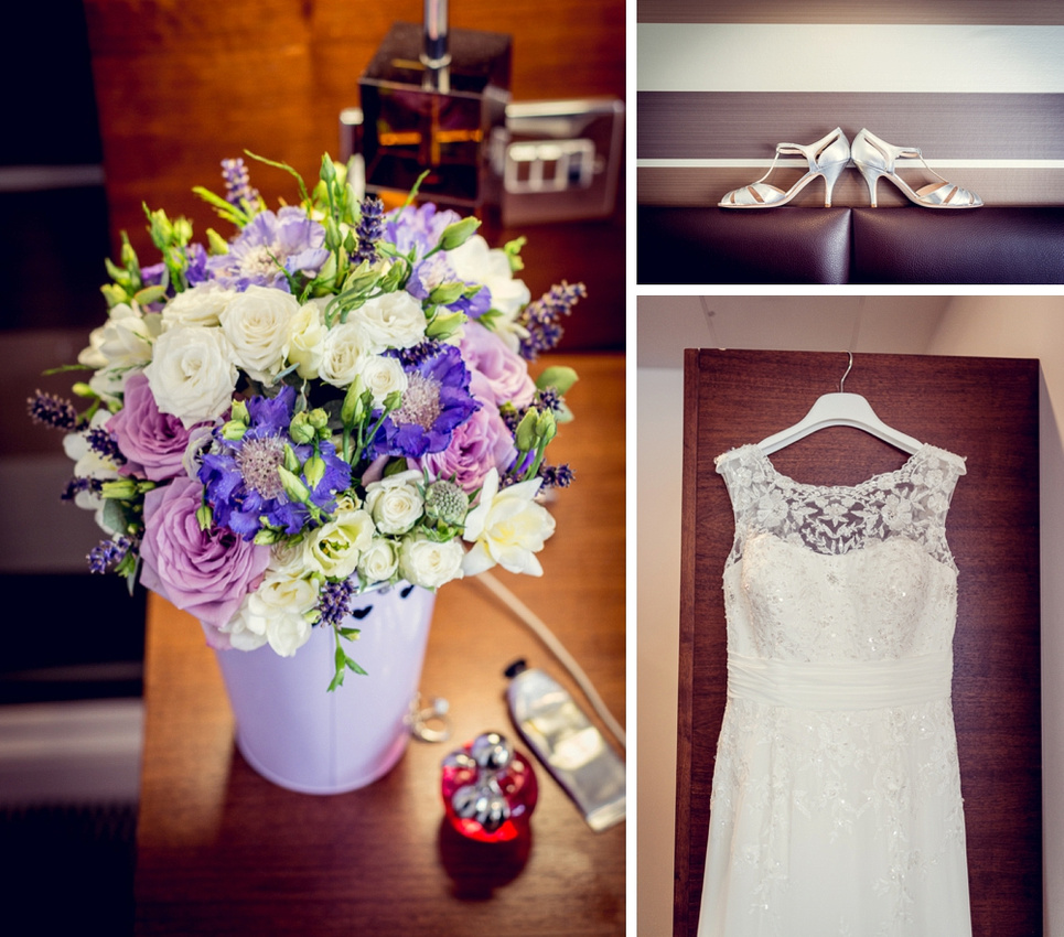 detail shots of bouquet wedding dress and shoes