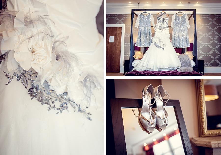 wedding photography at hampton manor bride's dress shoes hanging up