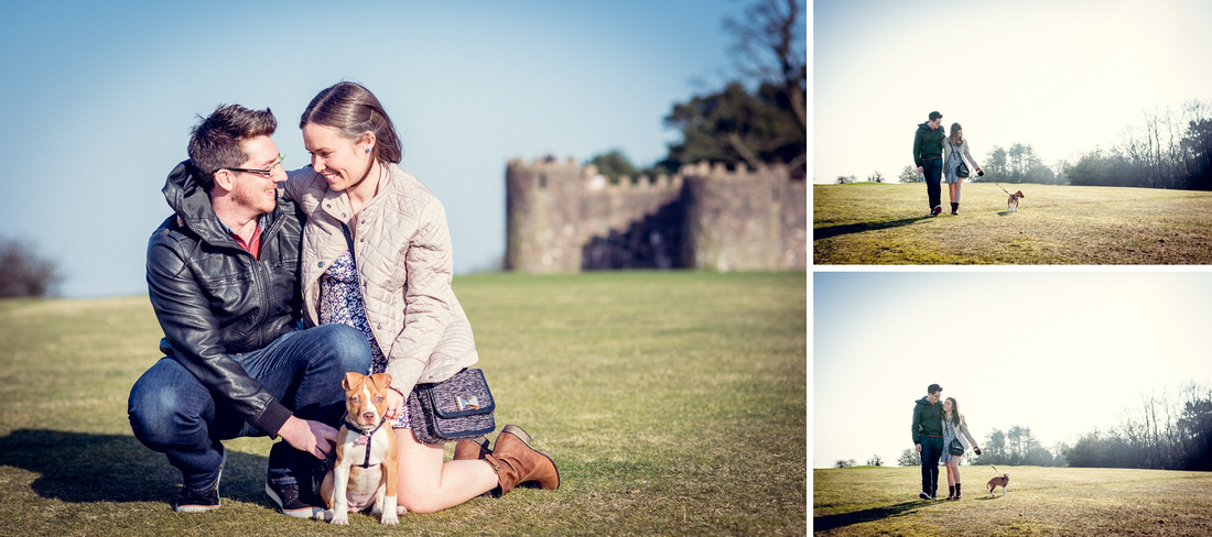 pre-wedding photo shoot with dog in the Lickey Hills