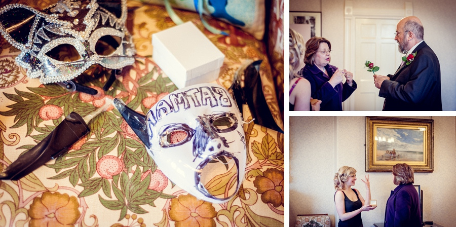 Wedding photography at Highbury Hall in Birmingham bride getting ready with home-made masks