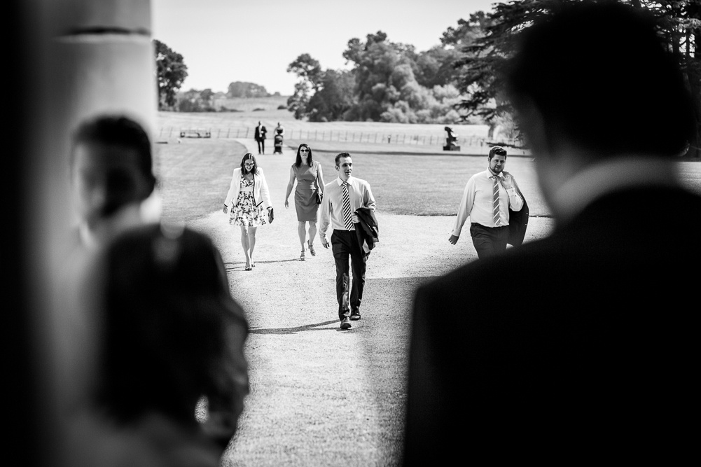 guests arriving for Compton Verney wedding