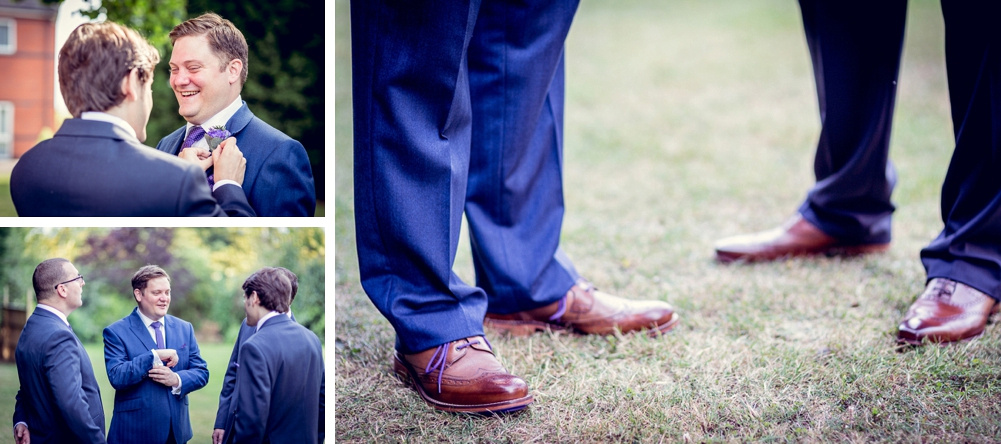 groom getting ready at Ettington Chase Hotel