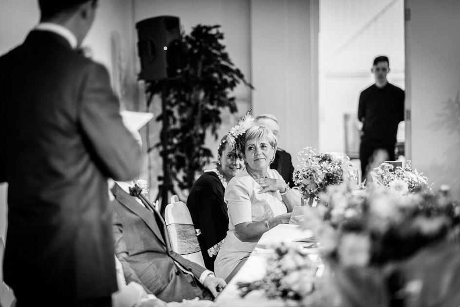 proud mother of the bride during speeches