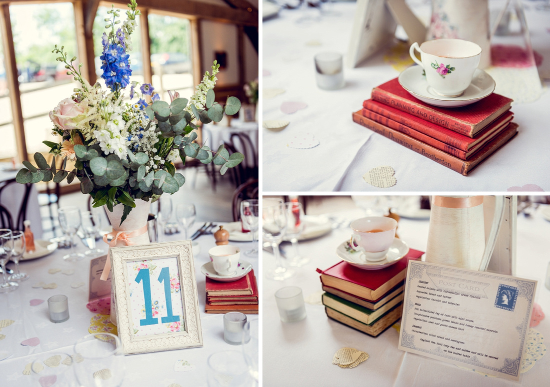 book themed table decorations at Cripps Barn