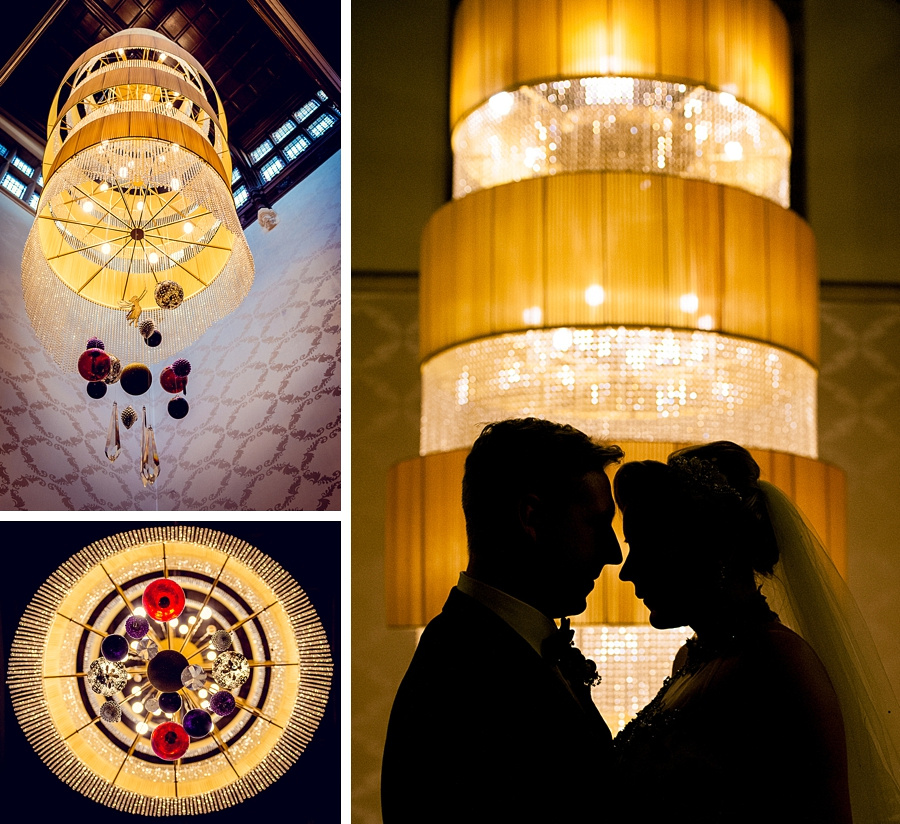 wedding photography at hampton manor couple silhouette chandelier Christmas romantic portrait