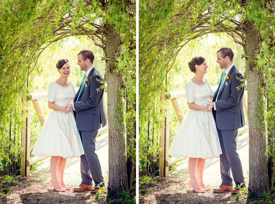 bride and groom laughing under a willow arch at Wootton Park