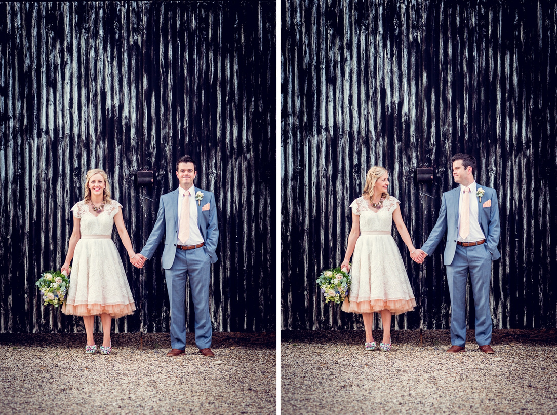 funky bride and groom portrait at Cripps Barn wedding
