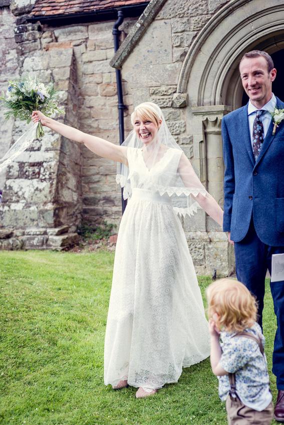 happy bride Minna dress Warwickshire