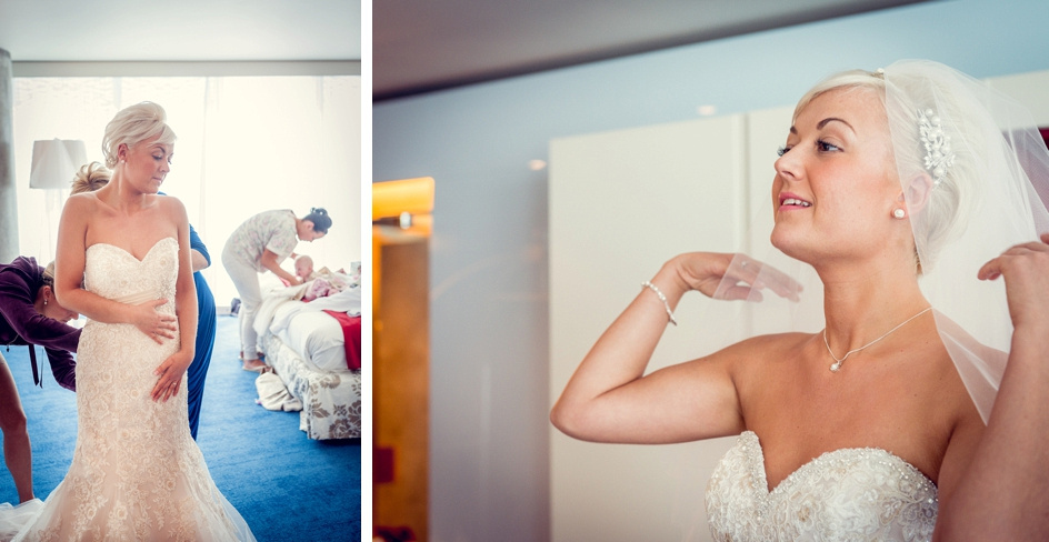 bride getting ready at Radisson Blu in Birmingham